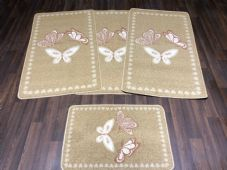 ROMANY GYPSY WASHABLES FULL SET OF TOURERS SIZE 67X120CM MATS BISCUIT-CREAMS